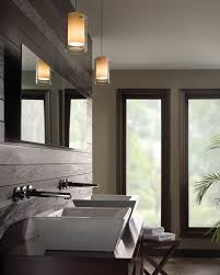 wonderful bathroom vanity track lighting casual window on plain wall paint closed plant decor floor and nice mirror pendant above white sink under silver