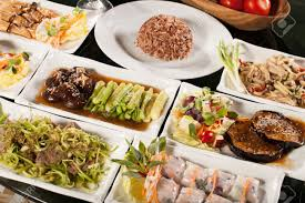 table full of food food set round table full with many vegetarian thai food with