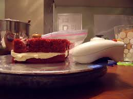 red velvet cake mixing with madison