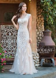 modest wedding dress modest bridal by mon cheri tr11837 fit and flare wedding gown