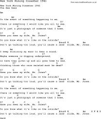 New Lyrics Song New York Mining Disaster 1941 With Chords Tabs And Lyrics