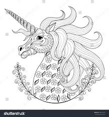 hand drawing unicorn anti stress stock vector 364673423