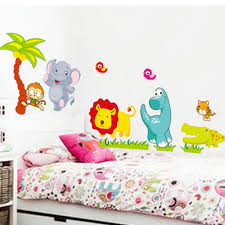compare prices on jungle wall stickers online shopping buy low cute cartoon jungle animals vinyl wall stickers removable decals mural diy home baby children kids bedroom