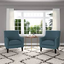 Blue Accent Chair Yuri Blue Fabric Accent Chair 2 Pack