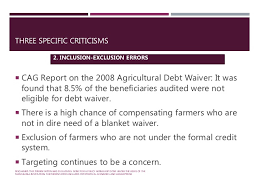 Formal Credit Policy Farm Loan Waiver Policy Analysis