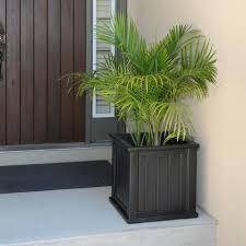 mayne cape cod 20 in square black plastic planter 4838 b the