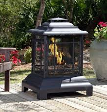 outdoor wood burning fireplace fire pit patio backyard deck heater