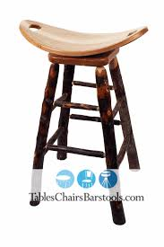 amish built rustic lodge hickory stick bar stool with saddle seat