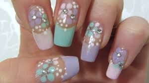 easy floral design in pastel colors with rhinestones nail art