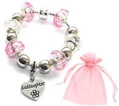 goddaughter charm bracelet goddaughter gift pink silver charm bracelet with