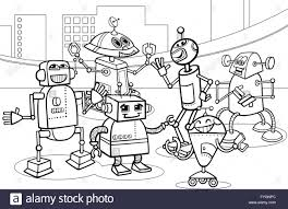 robots group cartoon coloring page stock photo royalty free image
