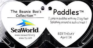 paddles medium ty beanie boo