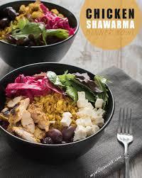 easy chicken shawarma bowl recipe with lemon tahini dressing