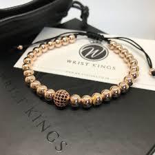 rose gold bead bracelet images Wk 24k rose gold beaded cz single disco ball macrame men 39 s JPG