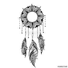 moon sun mandala dreamcatcher with feathers ethnic