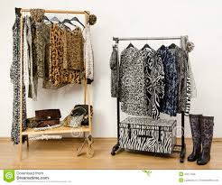 dressing closet with animal print clothes arranged on hangers and