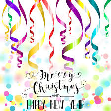 new years streamers merry christmas and happy new year card colorful paper streamers