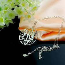 3 initial monogram necklace silver 42 best ns circle necklace images on circle necklace