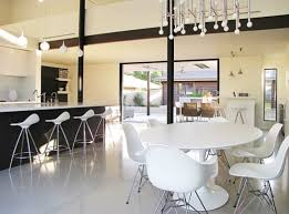 Dining Room Shelving Colorful Bar Stools Open Shelving Island With White Solid