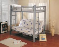 Bedroom Traditional Black Wooden Bunk Bed With White Twin Bed - Wood bunk bed with futon
