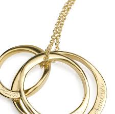 three ring 18ct gold plated three ring necklace by sibylle de baynast jewels