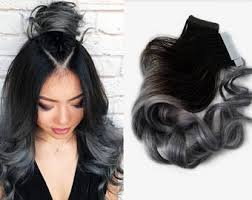salt and pepper tape in hair extentions grey hair extension etsy