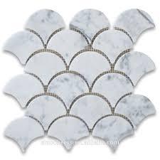 Marble Mosaic Tile Carrara White Italian Carrera Marble Grand Fan Shaped Fish Scale