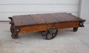 antique factory cart coffee table wheels