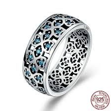 finger rings silver images Lucky clover blue zircon stone wide finger ring for women unique jpg