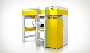 lit surélevé avec bureau combiné lit en mezzanine jaune avec bureau armoire et dressing