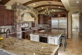 kitchen style rustic kitchen barral ceiling with stone backsplash