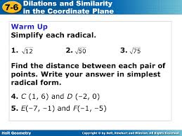 holt geometry 7 6 dilations and similarity in the coordinate plane