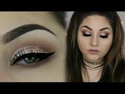 and glow gold glitter smokey makeup using new stila magnificent