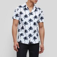 sleeve palm tree print shirt kenneth cole
