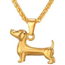 gold dog pendant necklace images Gold black color dog pendant necklace for men women gift sausage jpg