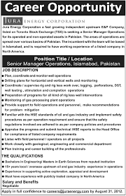 Geologist Job Description Jura Energy Corporation Requires Senior Manager Operations In