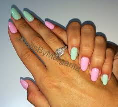 mint green and baby pink almond nails summer nail design