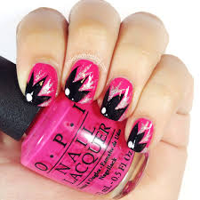 mani monday black floral on pink and kiss nail art paint review