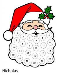 printable santa advent calendar printable calendar