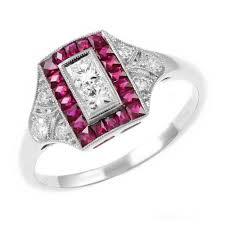platinum 0 84ct ruby u0026 0 35ct diamond art deco style ring
