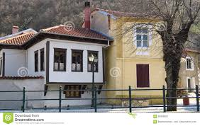 florina greece traditional neoclassical houses by the riverside