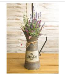 Tin Vases French Country American Pastoral Retro Portable Tin Vase Of Flower
