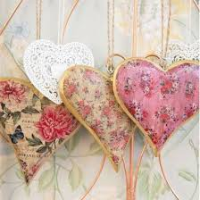 heart decorations floral gold vintage hanging heart decorations