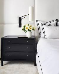 Modern Black Nightstand Tall White Padded Headboard With Black Curved Nightstand