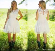 Cheap Boho Clothes Online 2017 Country Style Ivory Lace Short Bridesmaid Dresses Tulle Jewel