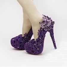 wedding shoes purple high heel fashion fower rhinestone bridal shoes purple lace