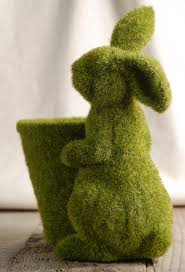 moss covered bunny and flower pot lawn ornaments bunny and cement