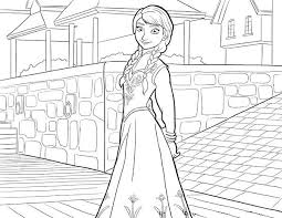 beautiful anna from disney movie frozen coloring page coloring