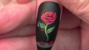 the enchanted rose nails beauty and the beast nail art design