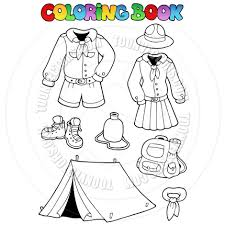 cartoon coloring book scout clothes and camping gear by clairev